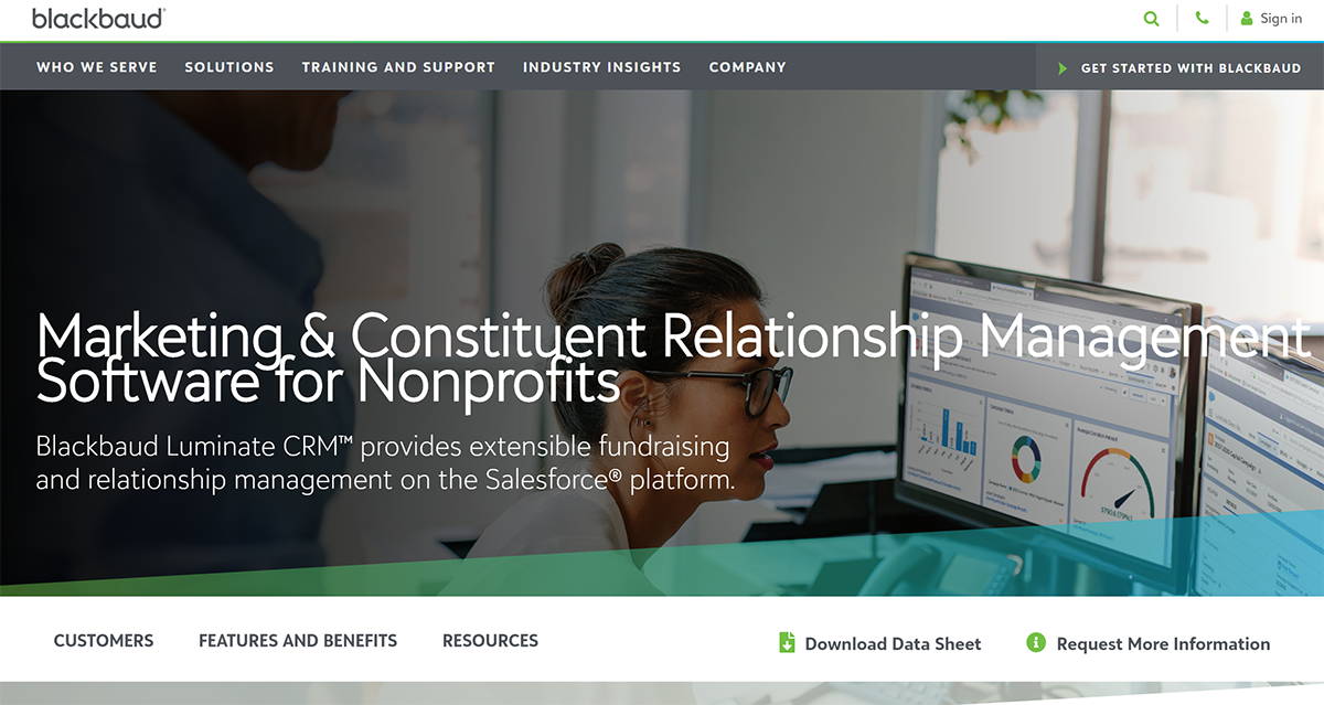 Learn more about Blackbaud Luminate CRM, one of the top Salesforce apps for nonprofits.