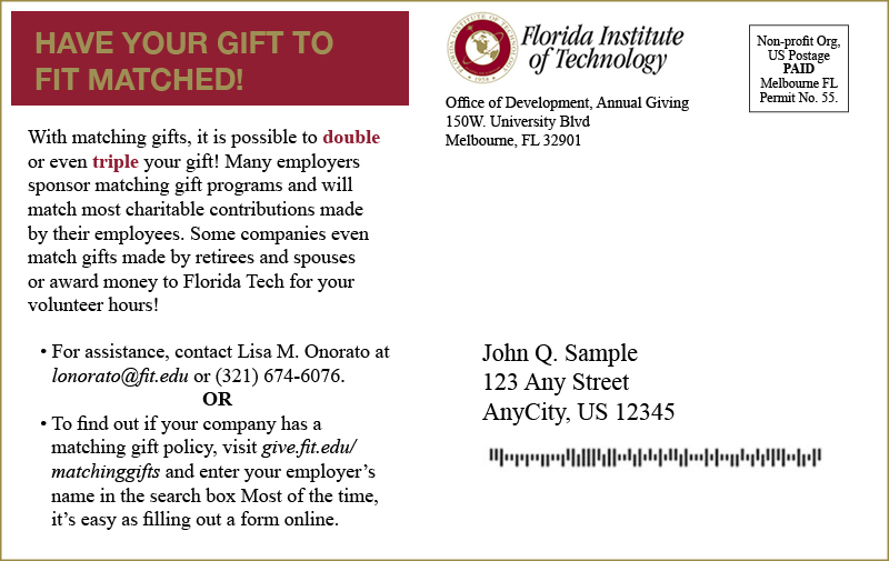 Here's an example of an effective postcard, another type of matching gift letter.