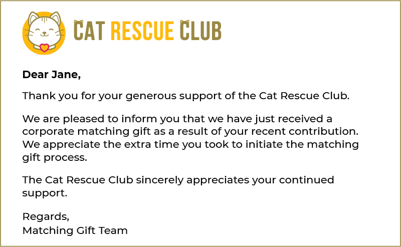 Here's an example of a matching gift letter recognizing a donor.