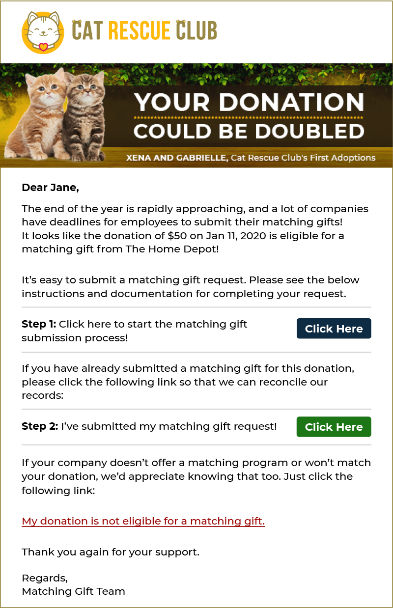 Here's an example of an effective year-end matching gift letter.
